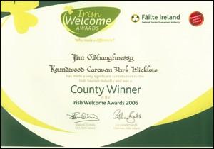 Roundwood Caravan Park Welcome Award