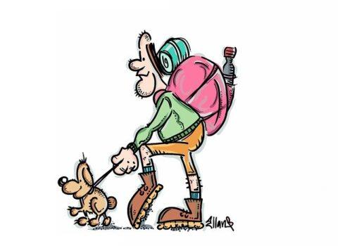 Hiker walking with dog - Illustration